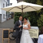 Ice cream tricycle at wedding